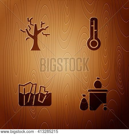 Set Full Dustbin, Withered Tree, Glacier Melting And Meteorology Thermometer On Wooden Background. V