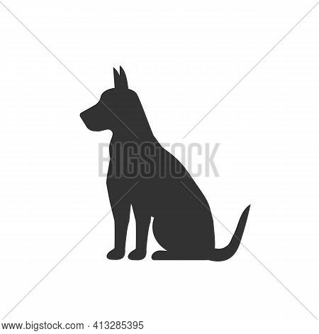 Dog Silhouette Isolated On White Background. Animal Concept Logo. Vector Stock