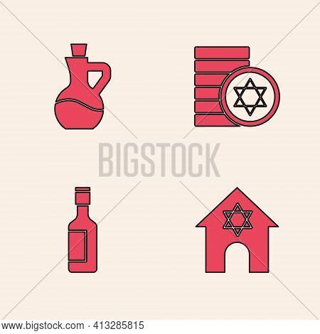 Set Jewish Synagogue, Bottle Of Olive Oil, Coin And Wine Bottle Icon. Vector
