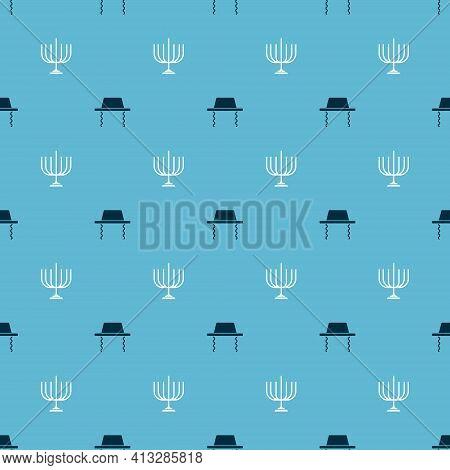 Set Orthodox Jewish Hat And Hanukkah Menorah On Seamless Pattern. Vector