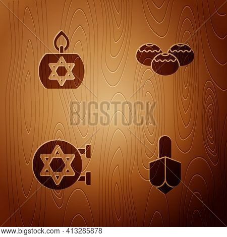 Set Hanukkah Dreidel, Burning Candle, Jewish Synagogue And Sweet Bakery On Wooden Background. Vector