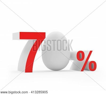 Seventy Percent Discount With A White Easter Egg. 3d Illustration