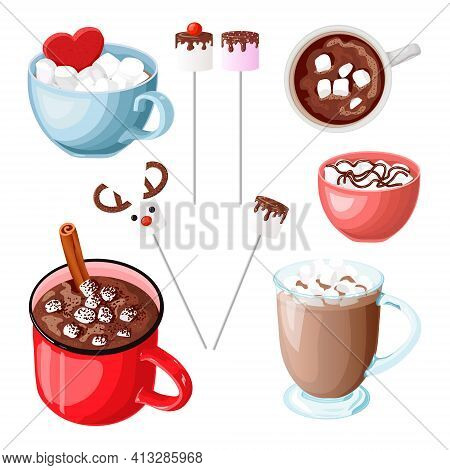 Set Of Mugs With Hot Chocolate And Marshmallow. Cocoa With Cinnamon. Cacao With Zephyr On A Stick. R