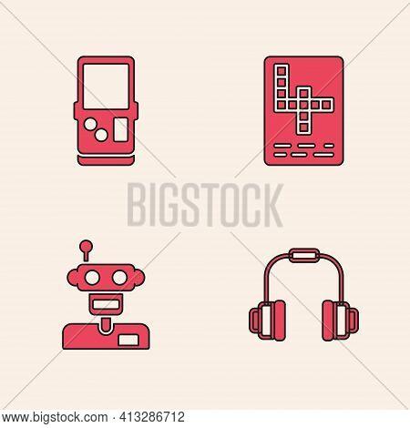 Set Headphones, Tetris, Crossword And Robot Icon. Vector