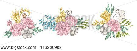 Flower Bouquet Of Pastel Ficus, Eucalyptus, Peony, Cotton, Freesia Brunia Stock Illustration