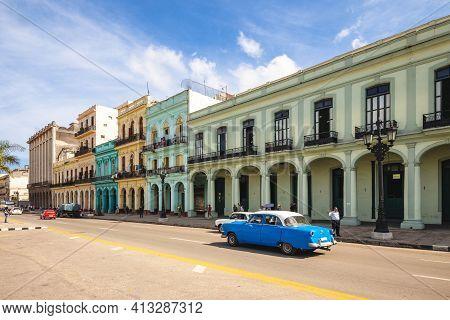 October 28, 2019: Colorful Colonial Architectures On Paseo Del Prado, Aka El Prado, A Promenade In H