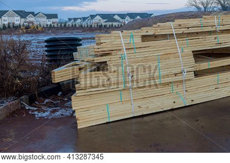 Stacked Wooden Building Materials Stack Of Boards Wood Frame Beam Construction