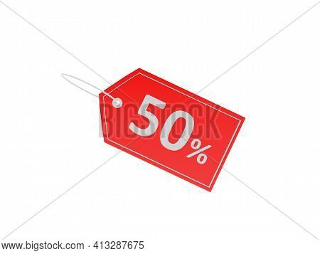 Red Label With Discount 50 Percent Sign Isolated On White Background. 3d Illustration