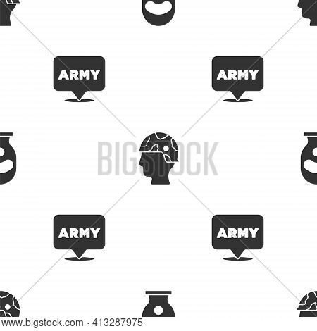 Set Balaclava, Army Soldier And Military Army On Seamless Pattern. Vector