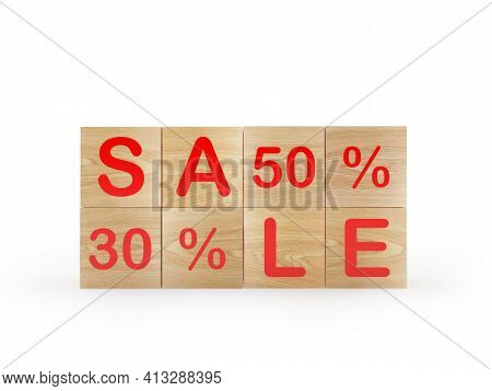 Wooden Cubes With The Text Sale Thirty And Fifty Percent. 3d Illustration