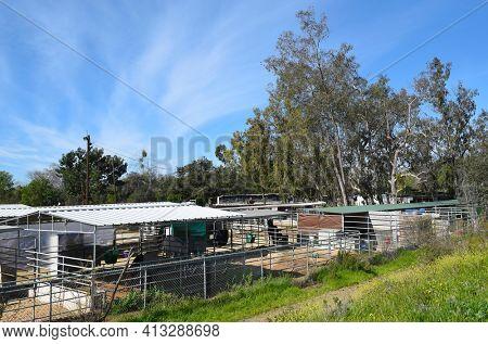 ORANGE, CALIFORNIA, 24 FEB 2017: Horse Stables at Irvine Regional Park, in Orange County, California.