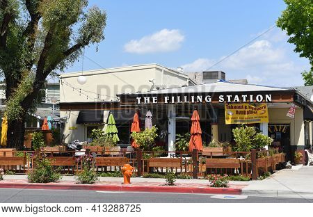 ORANGE, CALIFORNIA - 14 MAY 2020: The Filling Station is a restaurant in a converted gas station with cafe classics and breakfast served all day, near Chapman University.