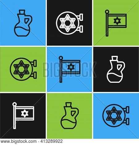 Set Line Bottle Of Olive Oil, Flag Israel And Jewish Synagogue Icon. Vector