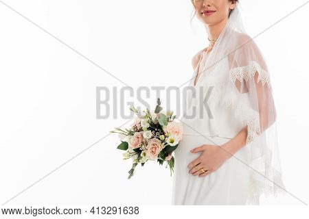 Cropped View Of Pregnant Fiancee Holding Wedding Bouquet Isolated On White.