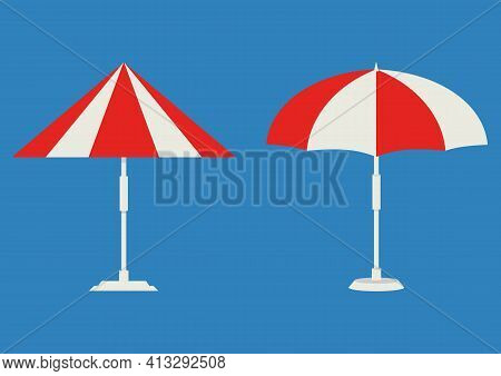 Beach Umbrella. Isometric Parasol. Beach Or Pool Umbrella Color Icon. The Symbol Of A Holiday By The