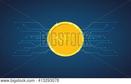 Nft Non Fungible Token. Nft Golden Coin Icon. Non-renewable Token. Crypto Art. Vector Illustration