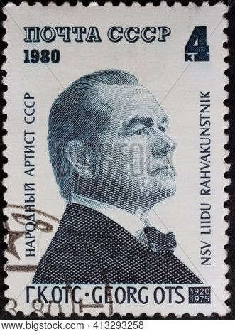 Ussr - Circa 1980: Postage Stamp 'portrait Of G.k. Ots' Printed In Ussr. Series: '60th Anniversary O