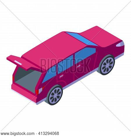 Open Trunk Car Icon. Isometric Of Open Trunk Car Vector Icon For Web Design Isolated On White Backgr