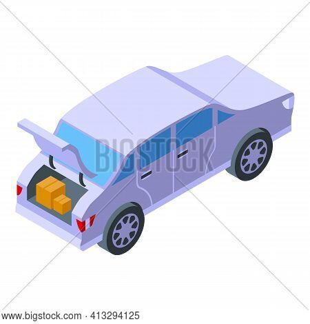 Storage Trunk Car Icon. Isometric Of Storage Trunk Car Vector Icon For Web Design Isolated On White