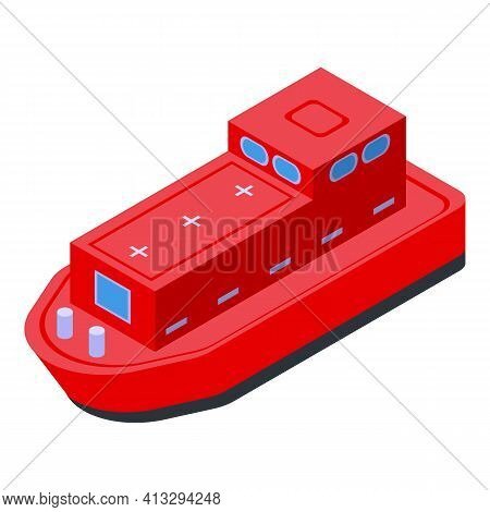 Red Rescue Ship Icon. Isometric Of Red Rescue Ship Vector Icon For Web Design Isolated On White Back