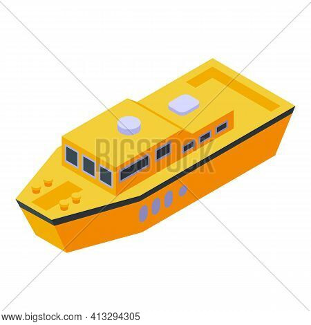 Yellow Rescue Boat Icon. Isometric Of Yellow Rescue Boat Vector Icon For Web Design Isolated On Whit