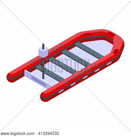 Rubber Rescue Boat Icon. Isometric Of Rubber Rescue Boat Vector Icon For Web Design Isolated On Whit
