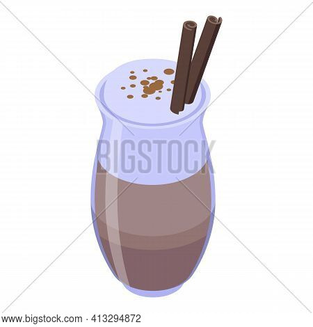 Cinnamon Latte Cup Icon. Isometric Of Cinnamon Latte Cup Vector Icon For Web Design Isolated On Whit