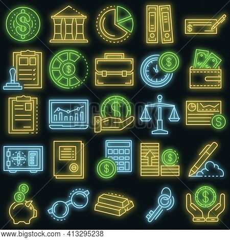 Accounting Day Icon Set. Outline Set Of Accounting Day Vector Icons Neon Color On Black