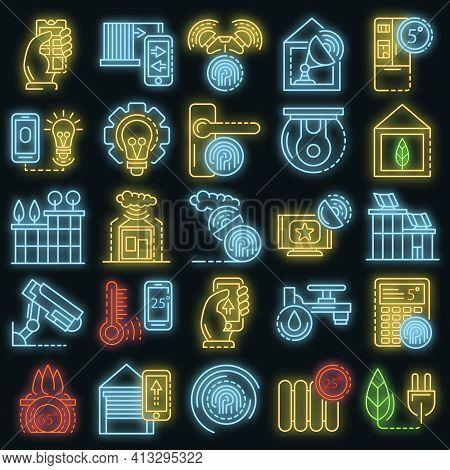 Intelligent Building System Icon Set. Outline Set Of Intelligent Building System Vector Icons Neon C