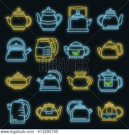 Teapot Icon Set. Outline Set Of Teapot Vector Icons Neon Color On Black
