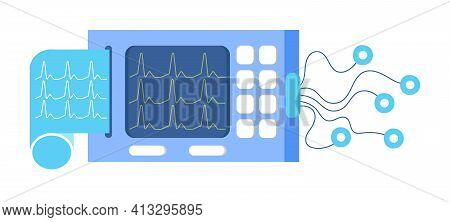 Portable Electrocardiogram Medical Device Machine Icon. Ekg Monitor For Emergency.