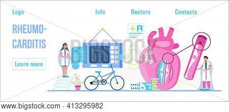 Rheumocarditis Concept Vector For Medical Website, Header, Blog. Heart Attack, Cardiac Infarction Wi