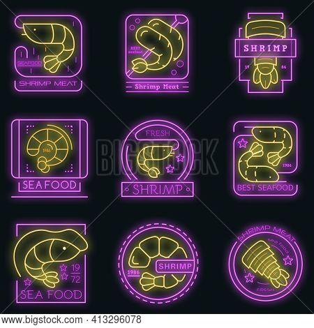 Shrimp Icon Set. Outline Set Of Shrimp Vector Icons Neon Color On Black