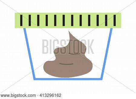 Fecal Analysis Icon Vector. Human Poop In A Plastic Container For Medical Website.