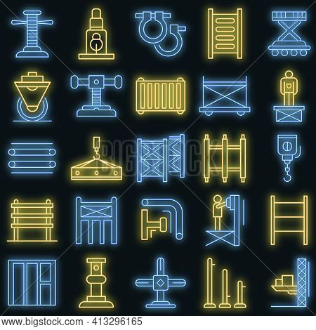 Scaffolding Icon Set. Outline Set Of Scaffolding Vector Icons Neon Color On Black