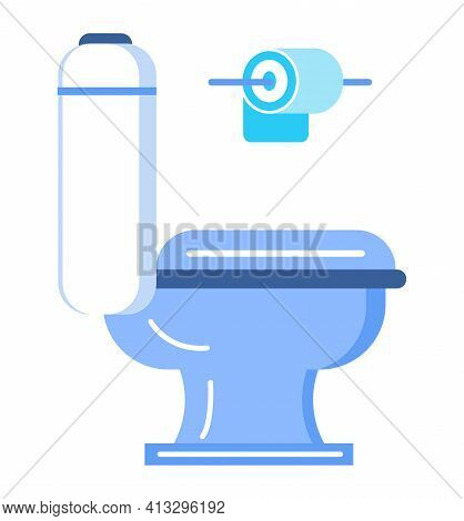 Toilet Icon Vector In Flat Style. Toilet Bowl, Toilet Paper Roll Shown.