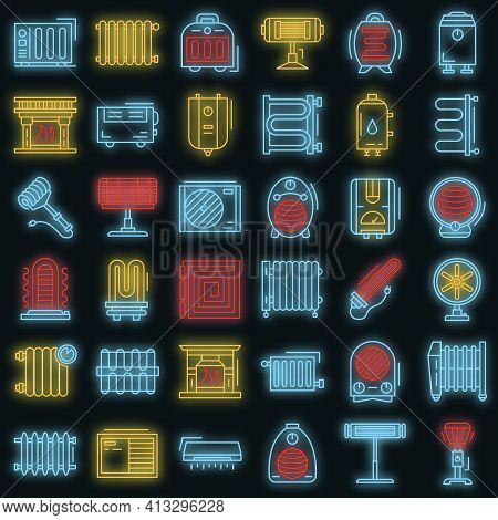 Electric Heater Icon Set. Outline Set Of Electric Heater Vector Icons Neon Color On Black