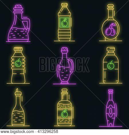 Vinegar Icon Set. Outline Set Of Vinegar Vector Icons Neon Color On Black