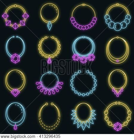 Necklace Jewelry Icon Set. Outline Set Of Necklace Jewelry Vector Icons Neon Color On Black