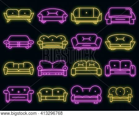 Sofa Icon Set. Outline Set Of Sofa Vector Icons Neon Color On Black
