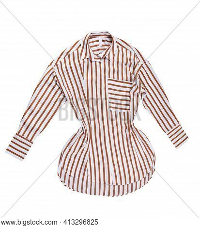 Female Striped Shirt Isolated On White Background, Striped Dress. Striped Formal Female Blouse Isola