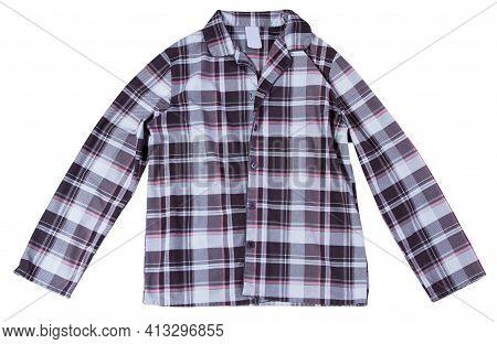 Women's Plaid Pajama Shirt Isolated - Sleepwear Close Up