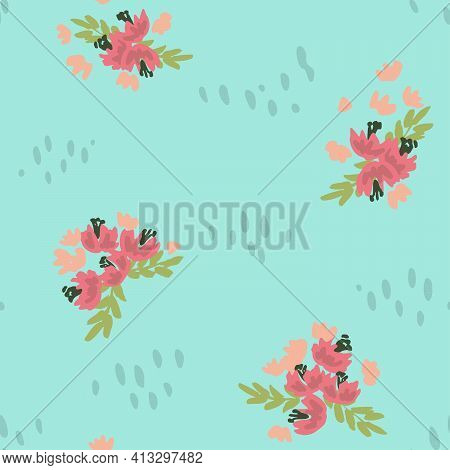 Vibrant Floral Shower Seamless Vector Pattern. Cute Flowers In Bunches Scattered With Waterdrop Shap