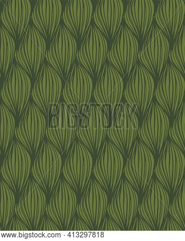Dense Woven Leaves Seamless Vector Pattern. Leaves Drawn With Line-art Placed Close To Form A Thick