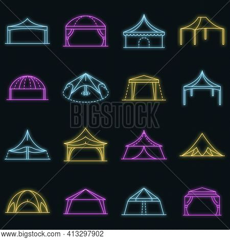Canopy Icon Set. Outline Set Of Canopy Vector Icons Neon Color On Black