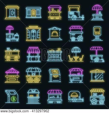 Kiosk Icon Set. Outline Set Of Kiosk Vector Icons Neon Color On Black