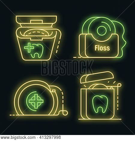 Floss Dental Icon Set. Outline Set Of Floss Dental Vector Icons Neon Color On Black