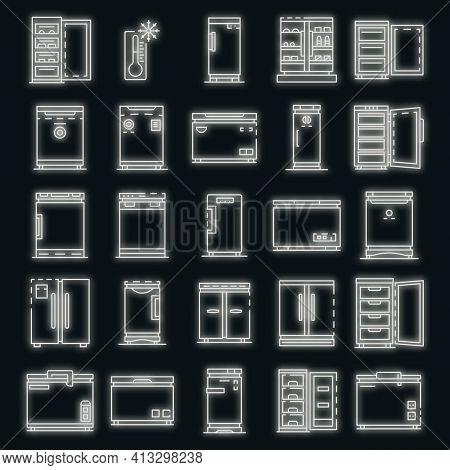 Freezer Icon Set. Outline Set Of Freezer Vector Icons Neon Color On Black