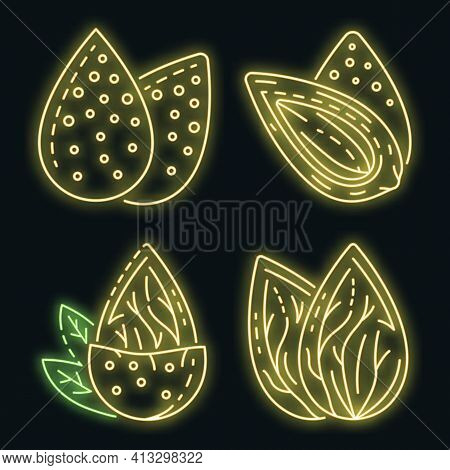 Almond Icon Set. Outline Set Of Almond Vector Icons Neon Color On Black