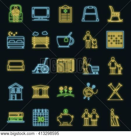 Pension Icon Set. Outline Set Of Pension Vector Icons Neon Color On Black